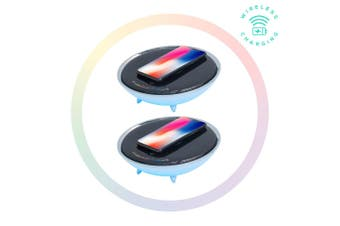 2x Activiva Wireless Charger w/ RGB Colour Light Changing Base for Apple/Samsung