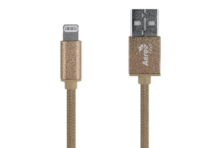 Aerocool 1m USB Lightning Sync/Charging Cable MFI for iPhone X/XS/8/7/6/iPad GLD