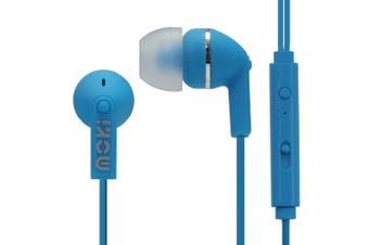 Moki Noise Isolation In-Ear Earphones 3.5mm Jack Headset/Mic/Volume Control Blue