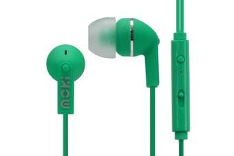 Moki Noise Isolation In-Ear Earphones 3.5mm Jack Headset/Mic/Volume Control GRN