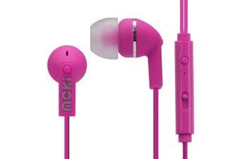 Moki Noise Isolation In-Ear Earphones 3.5mm Jack Headset/Mic/Volume Control Pink