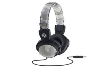 Moki Camo Headphones On Ear Stereo Headset Headband w/In-line Microphone Grey