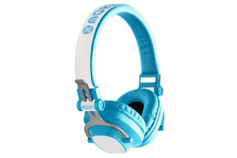 Moki Exo Kids Wireless Bluetooth Headphones On/Over Ear Cup Headband w/ Mic Blue