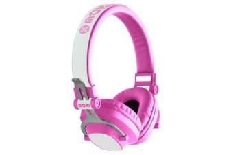 Moki Exo Kids Wireless Bluetooth Headphones On/Over Ear Cup Headband w/ Mic Pink