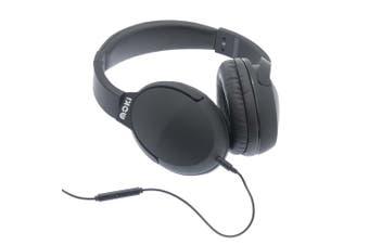 Moki Nero On Ear Headphones/Headset/Headband w/In-Line Mic/3.5mm Jack Black