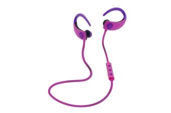 Moki Octane Pink Wireless Bluetooth Earphones Ear-Hooks Sports Headset w/Mic