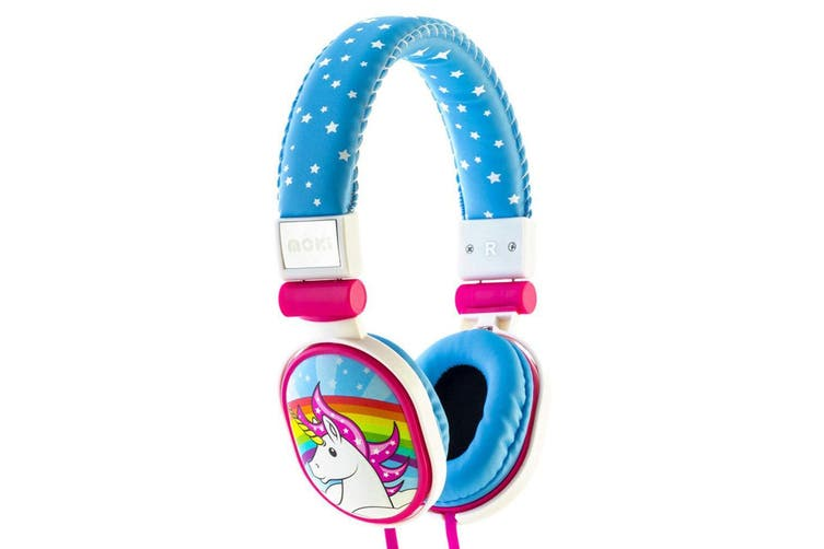 2PK Moki Popper Children/Kids Headphones Over Ear Cup Stereo Headband Unicorn BL