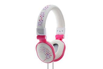 Moki Popper Children/Kids Headphones Over Ear Cup Stereo Headband Sparkles White