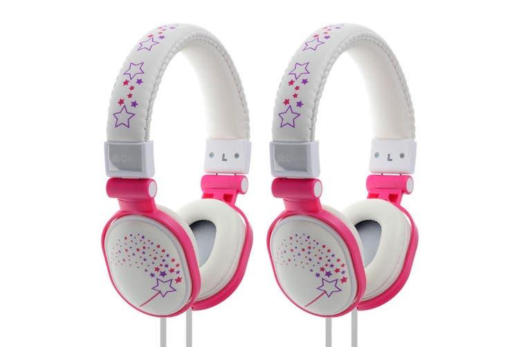 2x Moki Popper Children/Kids Headphones Over Ear Cup Stereo Headband Sparkles WH