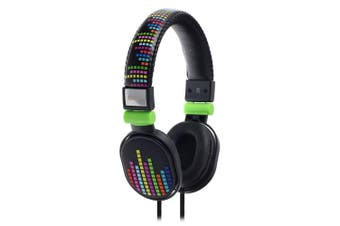 Moki Popper Children/Kids Headphones Over Ear Cup Stereo Headband Levels Black