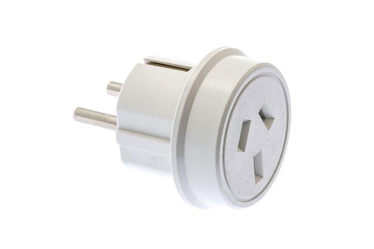 2PK Moki Travel Adaptor AUS/NZ to Europe/Bali Wall Adapter Power Plug Outlet WHT