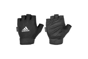 Adidas Climate Adjustable Unisex Weight/Gym/Sports MD Half Finger Gloves BLK/WHT