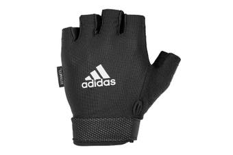Adidas Large Essentials Adjustable Gloves Sports Workout Gym Exercise White/BLK