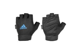 Adidas Climate Adjustable Unisex Weight/Gym/Sports MD Half Finger Gloves BLK/BLU
