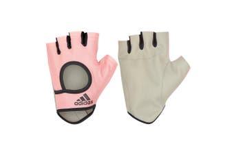 Adidas Women's Essential Fitness/Weights/Sports Medium Half Finger Gloves Pink