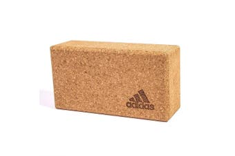 Adidas Cork Yoga Block Sport Fitness Gym/Home Workout Prop Exercise Brick Brown