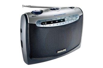 Philips AE2160 Portable FM AM Radio/AC Power Mains & Batteries/Earphone Jack 3.5