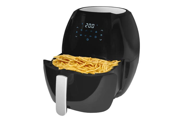 8L Digital Air Fryer Electric 1800W Non Stick w/Rack Less Oil Fries Cooking BLK