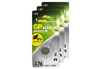 3pc GP LR44 A76 V13GA 1.5V Alkaline Button Cell Batteries for Calculators Watch