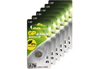 6pc GP LR44 A76 V13GA 1.5V Alkaline Button Cell Batteries for Calculators Watch
