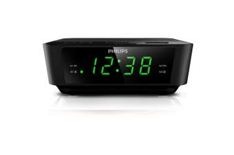 Philips AJ3116/79 24h LED FM Clock Radio w/Digital Turning, Dual Alarm & Snooze