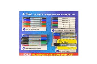 21pc Artline Whiteboard Markers & Pens Value Pack Kit w/ Magnetic Eraser Caddy