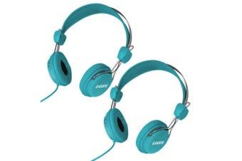 2PK Laser Volume Limited Kids Headphones/Headband Safe for Dvd/iPad/Audio Blue