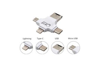 Laser USB 4in1 Card Reader Hub Type C/Lightning/Micro USB for PC/iPhone/Samsung