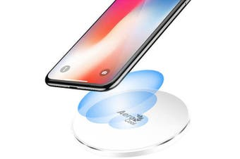 AeroCool Slimline 10W Qi Fast Wireless Charger for Android/Apple w/Light White
