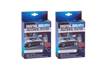 2x Digital Breath Alcohol Professional Tester LCD Analyser/Breathalyser Test BLK