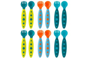 Boon Modware 12pc Blue Toddler/Baby 9m+ Cutlery/Spoon/Fork/Feed/BPA/PVC Free/Boy
