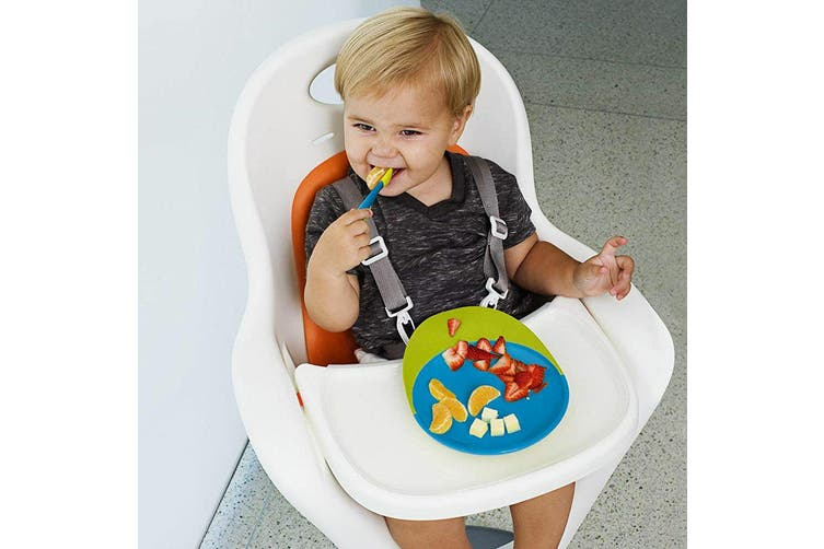 2PK Boon Baby/Toddler 9m+ Feeding Catch Food Catcher Plate w/ Suction Base BL/GR