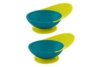 2PK Boon Blue/Green Catch Bowl w/ Spill Catcher for Baby/Toddler Food Mat/Tray