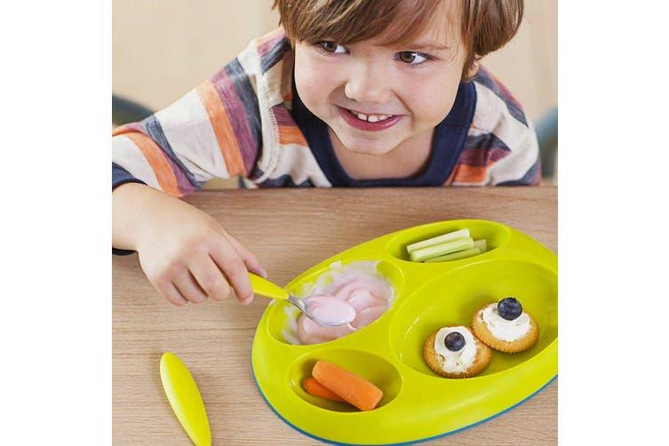 3pc Boon Baby/Toddler Platter Edgeless Nonskid Divided Food Plate BL/PK/PP 9m+