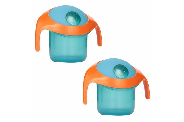 2PK Boon Nosh Baby/Toddler/Kids Feeding Snack Container Food Cup 9m+ w/ Lid Blue