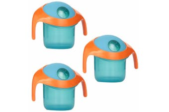 3PK Boon Nosh Baby/Toddler/Kids Feeding Snack Container Food Cup 9m+ w/ Lid Blue