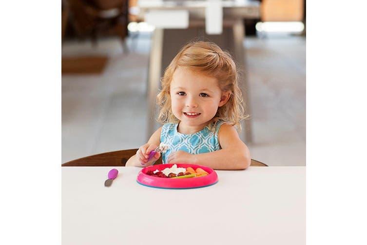 3pc Boon Baby/Toddler/Kids 9m+ Edgeless Nonskid Food/Dish Plate Pink/Purple/Blue
