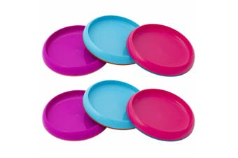 6pc Boon Baby/Toddler/Kids 9m+ Edgeless Nonskid Food/Dish Plate Pink/Purple/Blue