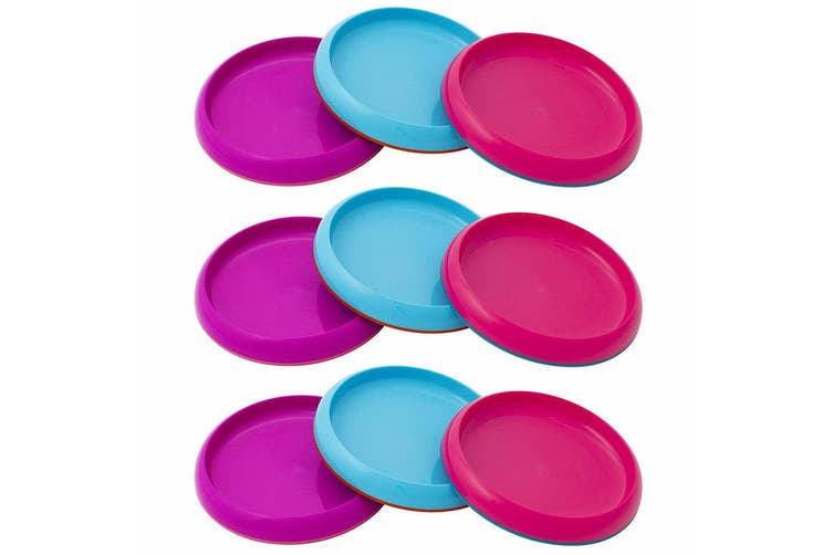 9pc Boon Baby/Toddler/Kids 9m+ Edgeless Nonskid Food/Dish Plate Pink/Purple/Blue