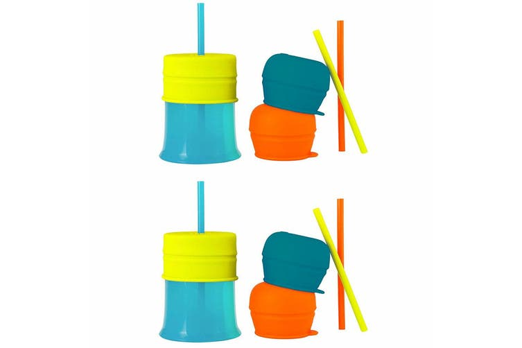 2PK Boon Snug Straw Silicone Lids Baby/12m+ Boy/Baby Water/Drinks w/ Cup - Blue