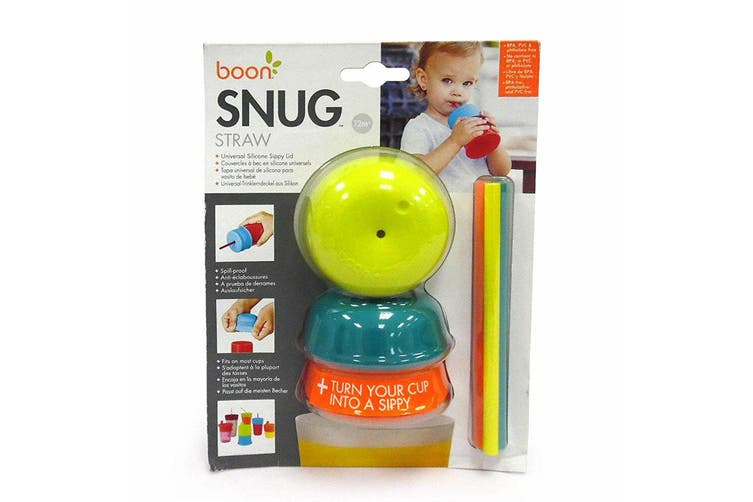 3PK Boon Snug Straw Silicone Lids Baby/12m+ Boy/Baby Water/Drinks w/ Cup - Blue