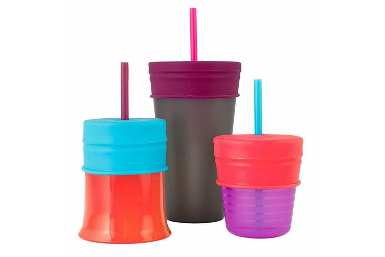 Boon Snug Straw Silicone Lids Baby/Infant/12m+ Girl Water/Drinks w/ Cup - Pink