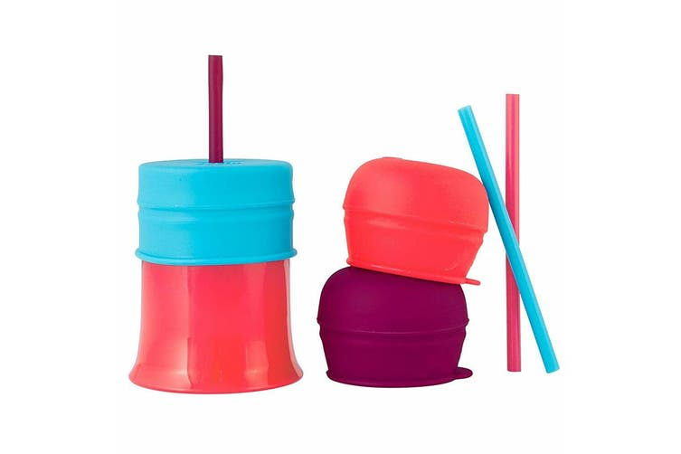 2x Boon Snug Straw Silicone Lids Baby/Infant/12m+ Girl Water/Drinks w/ Cup Pink