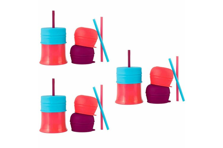 3x Boon Snug Straw Silicone Lids Baby/Infant/12m+ Girl Water/Drinks w/ Cup Pink