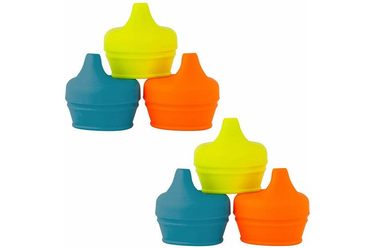 6pc Boon Snug Spout Baby/Boy/9m+/Infant Cup Universal Cover/Lid - BL/OR/YL