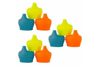 9pc Boon Snug Spout Baby/Boy/9m+/Infant Cup Universal Cover/Lid - BL/OR/YL