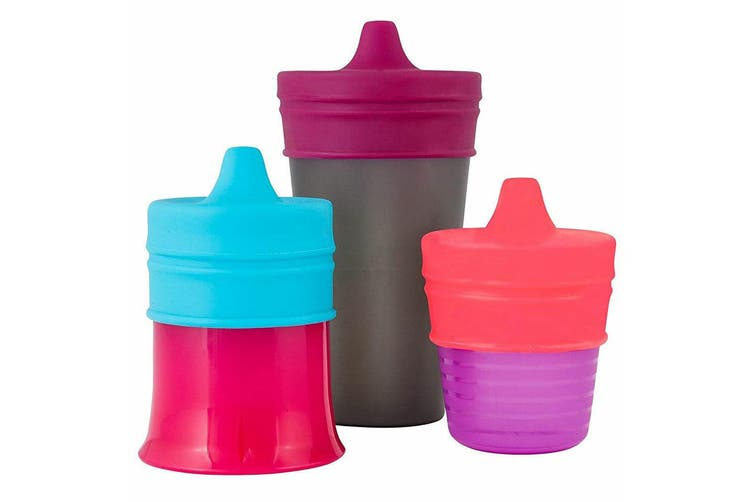 3pc Boon Snug Spout Baby/Girl/9m+/Infant Cup Universal Cover/Lid Blue/Pink/PP