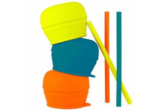 3pc Boon Snug Straw Baby/Boy/12m+/Infant Universal Cup Cover/Lid BL/OR/YL