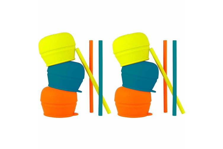 6pc Boon Snug Straw Baby/Boy/12m+/Infant Universal Cup Cover/Lid BL/OR/YL