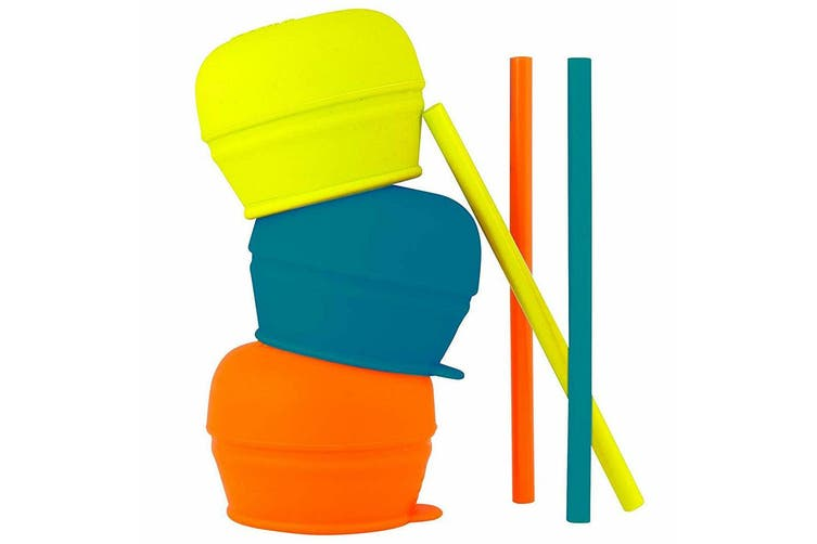 9pc Boon Snug Straw Baby/Boy/12m+/Infant Universal Cup Cover/Lid BL/OR/YL